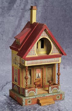"""17"""" (43 cm.) American Wooden Dollhouse by Bliss in Charming Petite Size 800/1200"""