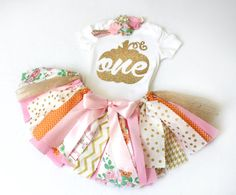 LIMITED STOCK! Fall Birthday Fabric + Tulle Tutu, Bodysuit/Tee, & Headband // Pink, Orange, Gold // Pumpkin w/ Age // Baby, Toddler, Girl