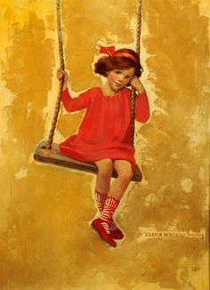 Jessie Willcox Smith (1863 – 1935, American) - Girl On Swing