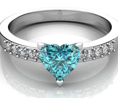 Valentine Day Special - 18 Kt White gold diamond ring with heart shape gemstone