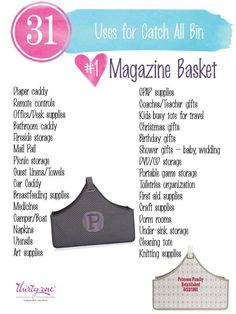31 uses for thirty one Go check it out at www.shopwithmarci.com It's a fantastic product!