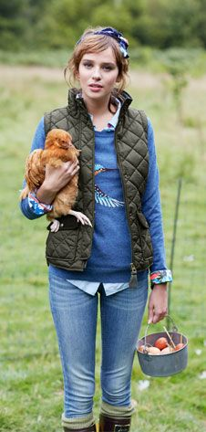 Lovely mix of Joules and pet chickens :-)