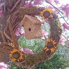 Oval Grapevine Wreath with Edible Birdhouse