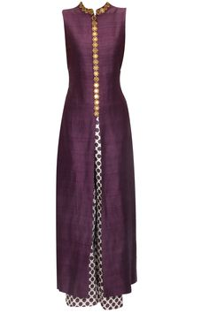Purple star embroidered anarkali with beige star print pants available only at Pernia's Pop Up Shop.