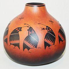 Mimbres Quail Gourd Pot by Robert Rivera. Drool, drool!!!!
