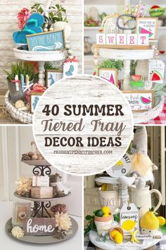 Get some inspiration for decorating your summer tiered tray. From beach tiered trays to lemon decor tiered trays, there are plenty of summer decor ideas for your tiered tray to choose from. These tiered tray summer decorating ideas will give your farmhouse decor a splash of summer style. Summer Decorating, Decorating Ideas, Decor Ideas, Tray Decor, Best Mom, Trays, Diy Furniture, Farmhouse Decor, Diy Home Decor