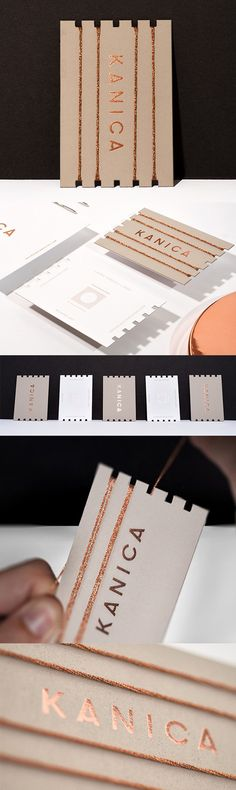 Clever Personalised Die Cut And Copper Foiled Business Card For A Weaver