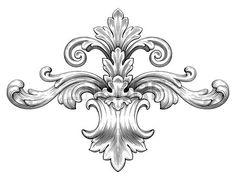 ビンテージ バロック フレーム リーフ スクロール彫刻国境レトロ パターン アンティーク スタイル渦巻き装飾的なデザイン黒と白の要素フィリグリー ベクトル花飾り