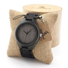 Black Ebony Wooden Watch for Men in Gift Box