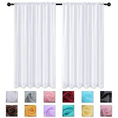 KEQIAOSUOCAI 2 Panels White Sheer Curtains 63 Inches Long Rod Pocket Sheer Panels Drapes Curtains for Bedroom Living Room 52W x 63L | CountryCurtains Curtains How To Choose, Thermal Drapes, White Sheer Curtains, Painting Shower, Metal Curtain, Home Curtains, White Paneling, Bath Decor