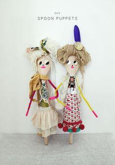 Adorable Wooden Spoon Puppet Dolls / Des poupées en cuillères de bois
