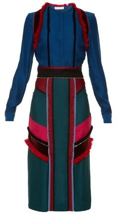 ALTUZARRA Letitia colour-block midi dress  Details: This blue burgundy pink and green crepe Letitia dress comes colour-blocked with saturated panels of velvet and is trimmed with tactile fringing that perfectly accentuates the streamlined silhouette.