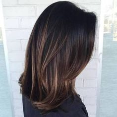 Resultado de imagem para medium hair straight balayage brown