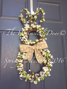 Bunny Wreath Twigs And Flowers Bunny Wreath by TheWhimsicalDoor