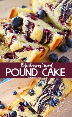 Blueberry Swirl Pound Cake Blueberry Swirl Pound Cake is the perfect spring treat. Dense, yet tender & oh so delicious, you'll have everyone asking for this easy pound cake recipe loaded with blueberries. via Kleinworth & Co. Blueberry Desserts, Köstliche Desserts, Delicious Desserts, Dessert Recipes, Blueberry Cake, Plated Desserts, Desserts With Blueberries, Wild Blueberries, Easy Pound Cake