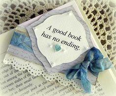 Cream and Blue Corner Bookmark