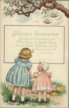 Easter Poem Girls Children Chicks Hatch Birds Greeting c1910 Postcard | eBay