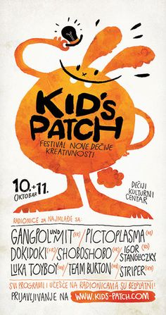 """Affiche pour le festival """"Kid's Patch"""". L'illustration est adorable, et la typo manuscrite donne un effet très fun."""