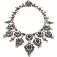 Statement high jewelry necklace with Sapphires, Rubies, Emeralds and Diamonds. Talk about Bling ! I Love Jewelry, High Jewelry, Jewelry Accessories, Jewelry Necklaces, Jewelry Design, Jewelry Ideas, Diamond Necklaces, Beach Jewelry, Jewelry Watches