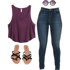 A fashion look from July 2015 featuring H&M tops and Wet Seal flip flops. Browse and shop related looks.