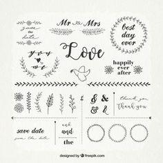 Descarga gratis vectores de Pack vintage de adornos de boda