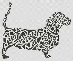 Tribal Basset Hound Dog Cross Stitch Chart - White Willow Stitching Cross Stitch - (Powered by CubeCart)
