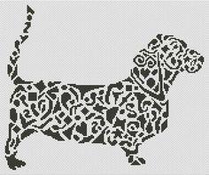 Tribal Basset Hound Dog Cross Stitch Chart - White Willow Stitching Cross Stitch - (Powered by CubeCart)