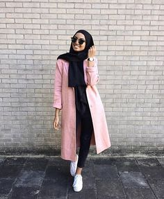 blush pink midi long coat + black skinny jeans + black hijab/scarf + white sneakers