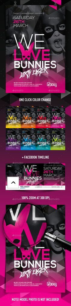 We Love Bunnies Flyer — Photoshop PSD #triangle #easter flyer • Available here → https://graphicriver.net/item/we-love-bunnies-flyer/14833979?ref=pxcr