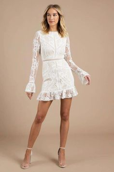 With those delicate lace sleeves and frilly ruffled hem, how can you not be the . Cocktail Dresses With Sleeves, V Neck Cocktail Dress, White Cocktail Dress, Kaftan, Nice Dresses, Short Dresses, Maxi Dresses, White Dress Outfit, Rehearsal Dinner Dresses