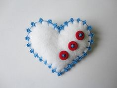 Felt brooch-brooch felt-felt pin-felt heart brooch-heart brooch-white felt-felt jewelry-felt accessories-white heart brooch. $11.00, via Etsy.
