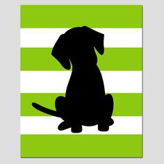SALE - Striped Puppy Dog Silhouette Print - Apple Green, Black, White - Modern Nursery - Boy via Etsy Dog Silhouette, Silhouette Images, Black Silhouette, Dog Paintings, Easy Paintings, Paint Stripes, Dog Blanket, Dog Art, Dogs And Puppies