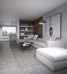 Minimal Living, Living Room Modern, Living Area, Basement Conversion, Dining Room Design, Decoration, Interior Inspiration, Interior Decorating, Sweet Home