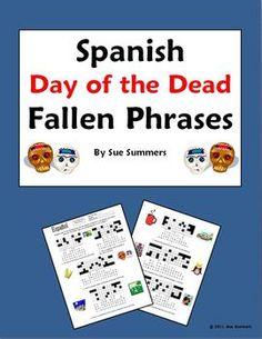 Spanish Day of the Dead / Dia de los Muertos Fallen Phrases Worksheet by Sue Summers - gustar, encantar