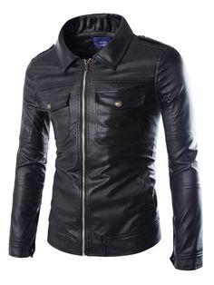 Double Pockets Epaulet Design Shirt Collar Long Sleeve Slimming Modish PU Leather Jacket For Men