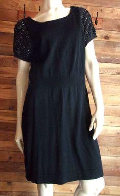 NWT ANN TAYLOR LOFT BLACK SIZE LARGE SWEATER DRESS #AnnTaylorLOFT #SweaterDress