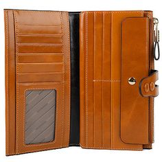 H328 Brown Men Women Bi-fold Wallet Wax Leather Removable Card Slot Dual Button
