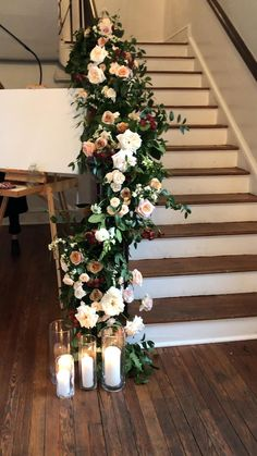 Wedding Staircase Decoration, Floral Wedding Decorations, Engagement Party Decorations, Reception Decorations, Home Wedding, Chic Wedding, Garden Wedding, Dream Wedding, Wedding Ceremony Flowers