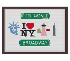 I Love New York Counted Cross Stitch Pattern. Statue Of Liberty. Empire State Building. Fifth Ave. PDF Instant Download.