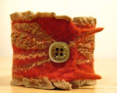 felted cuff bracelet merino wool and silk, rust and carthusian