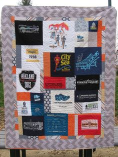 T-Shirt Quilt, Dry-Fit Tee's, Marathon T-shirt Quilt, Riley Blake Tone on Tone Chevrons, Riley Blake's Super Stars, Knit-Ease, How to make a T-shirt Quilt