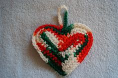 Red, green, and white vareigated colored heart ornament by CreativeCrochetbyChris, $5.00 USD