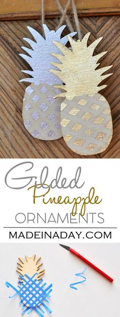 Easy DIY Gilded Pineapple Ornaments Gilded pineapple ornaments, gold and silver gilding, wood pineap Popsicle Stick Christmas Crafts, Christmas Crafts For Toddlers, Diy Christmas Ornaments, How To Make Ornaments, Holiday Crafts, Christmas Tree, Gold Ornaments, Christmas 2019, Pineapple Ornament
