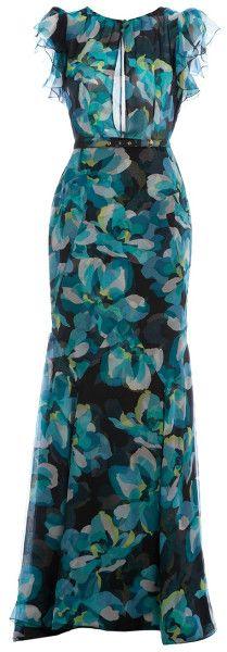 Gucci Green Floral Sheer Maxi Dress