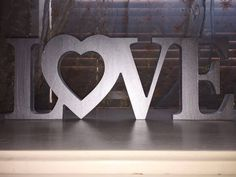 LOVE - Silver Free Standing Word LOVE in Silver, Large Letters, Home Decoration