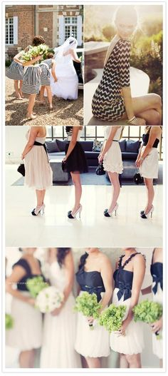 LOVE these black and white bridesmaid dress ideas (especially the bottom photo!!)