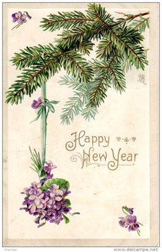 bunch of purple flowers hanging form pine tree Vintage Happy New Year, Happy New Years Eve, Happy New Year Images, Happy New Year 2019, Christmas Crafts, Christmas Decorations, Christmas Décor, Holiday, Hapoy Birthday