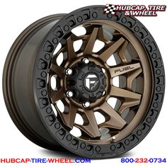 FUEL® - COVERT Bronze Center with Black Lip. The wheel can be ordered in diameters. Choose your rim width, offset, bolt pattern and hub diameter from the option list. Hot Wheels, Jeep Wheels, Off Road Wheels, Truck Wheels, Custom Wheels And Tires, Rims And Tires, Fuel Rims, 17 Inch Rims, Bronze Wheels