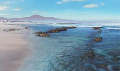 Painting of Misty Cliffs Scarborough South African Artists, Seascape Paintings, Westerns, Water, Outdoor, Gripe Water, Outdoors, Ocean Drawing, Outdoor Games