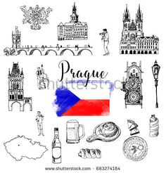 Vector set of Prague Bullet Journal Travel, Bullet Journal 2019, Architecture Sketchbook, Art And Architecture, Tattoo Prague, Travel Symbols, Jack Tattoo, Travel Doodles, Trippy Drawings